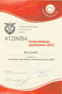 Lursoft - uzslavētākais uzņēmums 2012