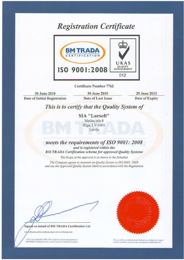 ISO 9001:2008 sertifikāts